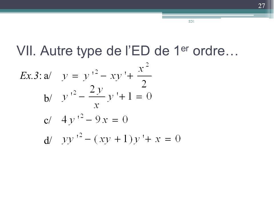VII. Autre type de l'ED de 1 er ordre… Ex.3:a/ b/ c/ d/ 27 ED1