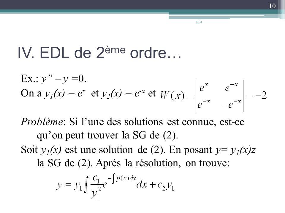 IV.EDL de 2 ème ordre… Ex.: y''  y =0.