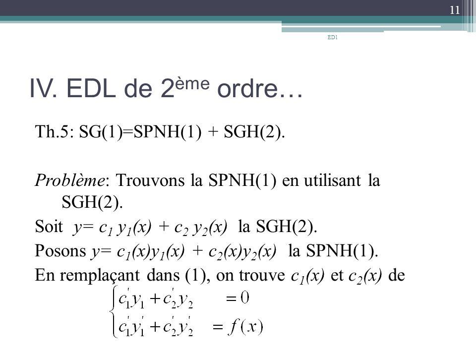 IV.EDL de 2 ème ordre… Th.5: SG(1)=SPNH(1) + SGH(2).