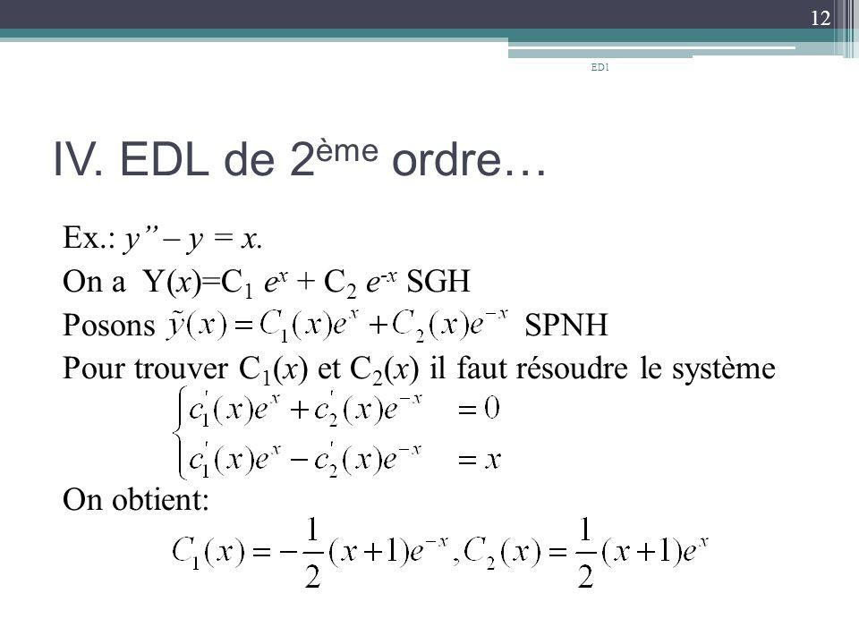 IV.EDL de 2 ème ordre… Ex.: y'' – y = x.