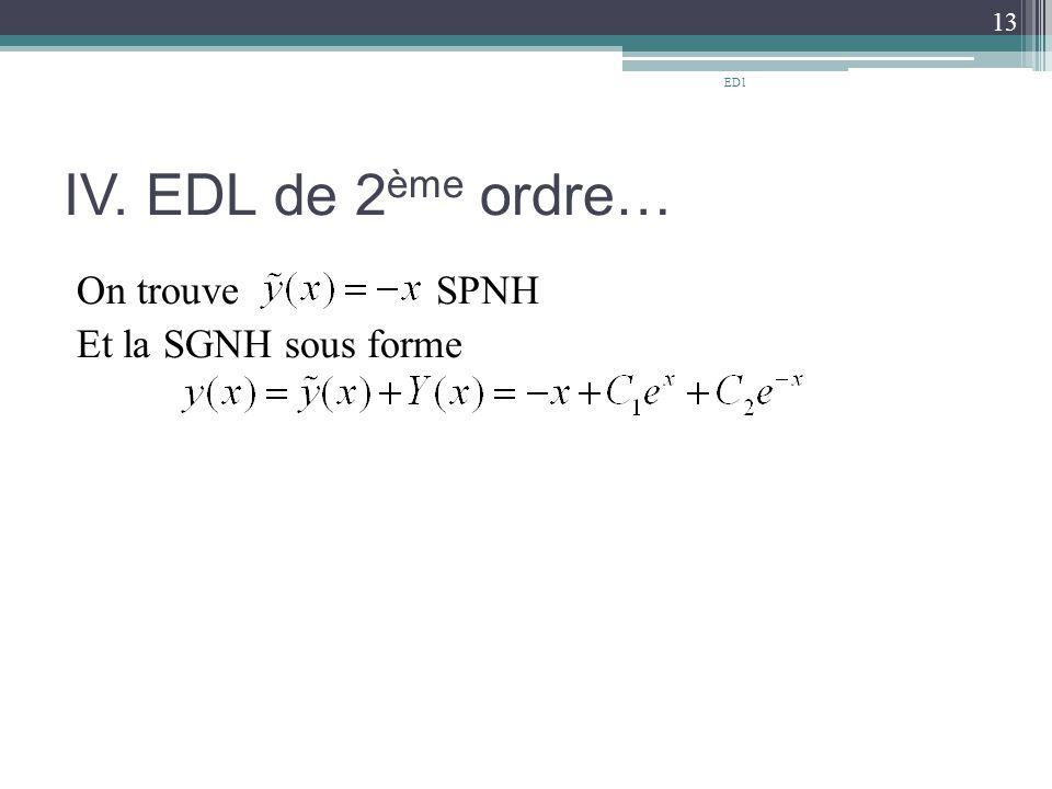 IV. EDL de 2 ème ordre… On trouve SPNH Et la SGNH sous forme 13 ED1