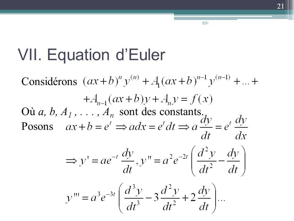 VII. Equation d'Euler Considérons Où a, b, A 1,..., A n sont des constants. Posons 21 ED1