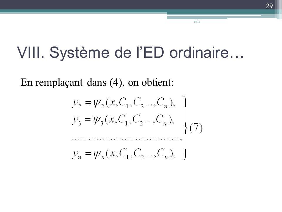 VIII. Système de l'ED ordinaire… En remplaçant dans (4), on obtient: 29 ED1