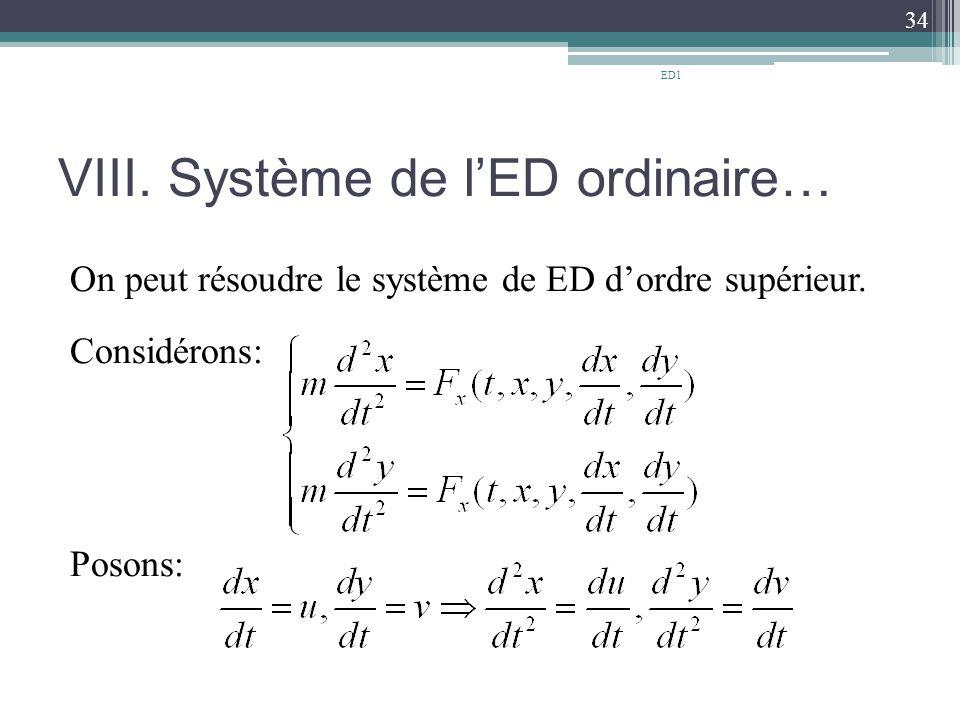 VIII.Système de l'ED ordinaire… On peut résoudre le système de ED d'ordre supérieur.