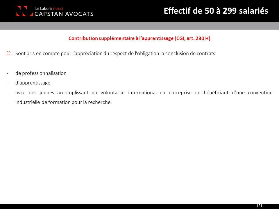 Contribution supplémentaire à l'apprentissage (CGI, art. 230 H) Sont pris en compte pour l'appréciation du respect de l'obligation la conclusion de co