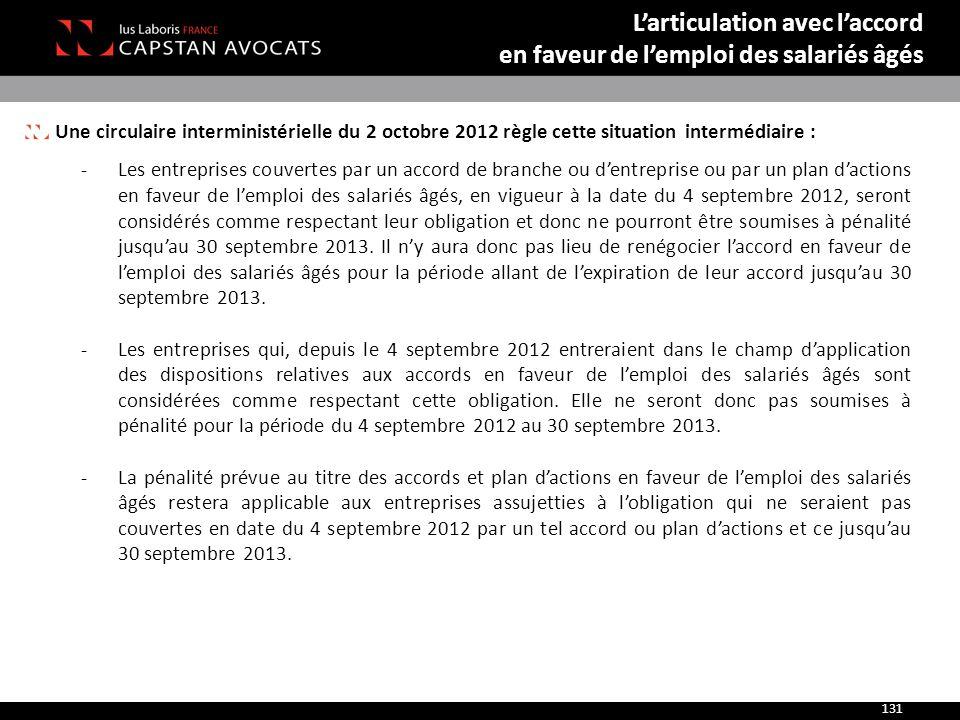 Une circulaire interministérielle du 2 octobre 2012 règle cette situation intermédiaire : ‐Les entreprises couvertes par un accord de branche ou d'ent
