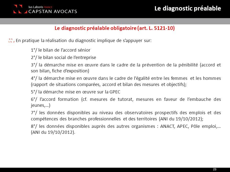 Le diagnostic préalable obligatoire (art. L. 5121-10) En pratique la réalisation du diagnostic implique de s'appuyer sur: 1°/ le bilan de l'accord sén