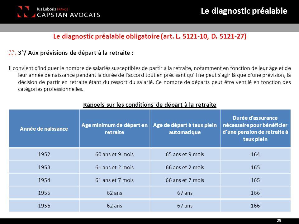 Le diagnostic préalable obligatoire (art. L. 5121-10, D. 5121-27) 3°/ Aux prévisions de départ à la retraite : Il convient d'indiquer le nombre de sal