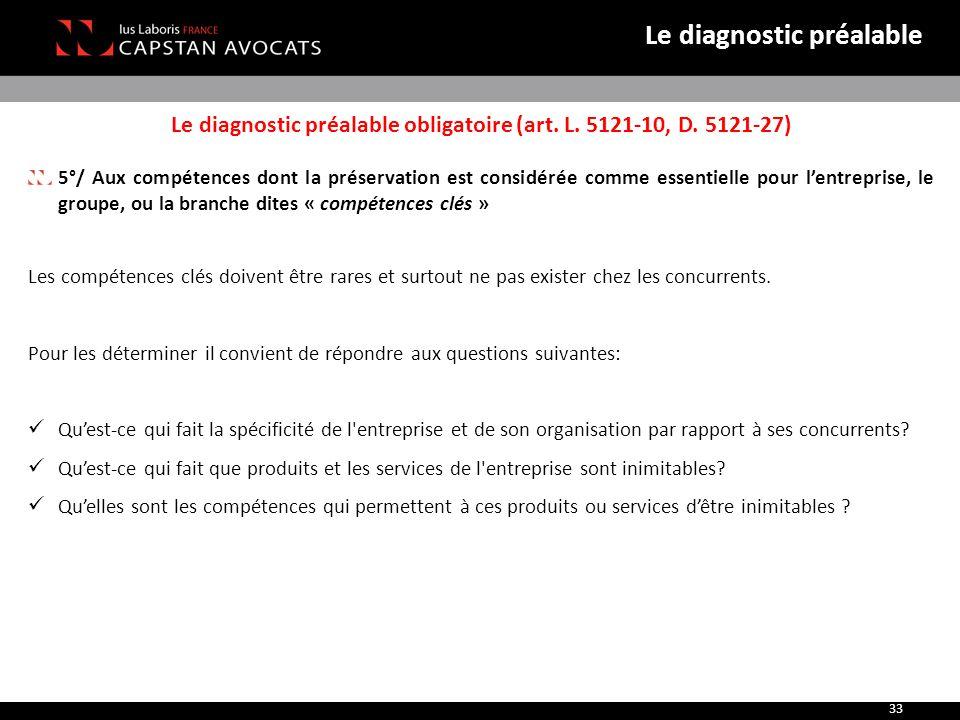 Le diagnostic préalable obligatoire (art. L. 5121-10, D. 5121-27) 5°/ Aux compétences dont la préservation est considérée comme essentielle pour l'ent