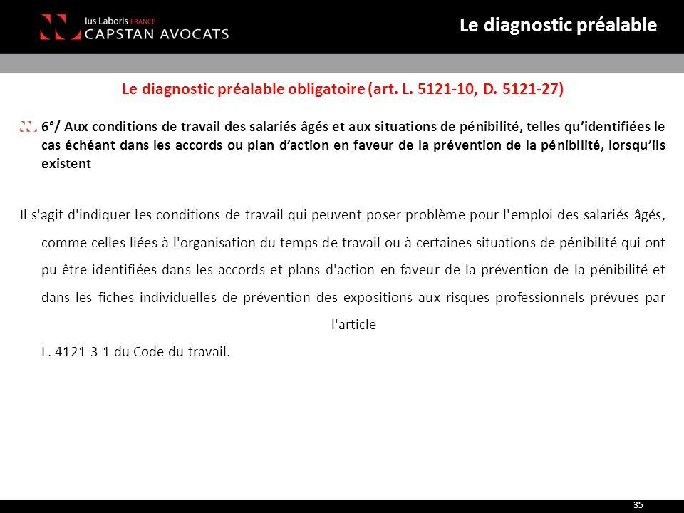 Le diagnostic préalable obligatoire (art. L. 5121-10, D. 5121-27) 6°/ Aux conditions de travail des salariés âgés et aux situations de pénibilité, tel