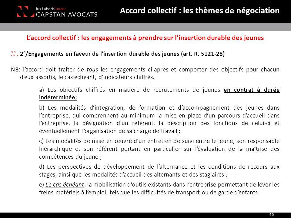 L'accord collectif : les engagements à prendre sur l'insertion durable des jeunes 2°/Engagements en faveur de l'insertion durable des jeunes (art. R.