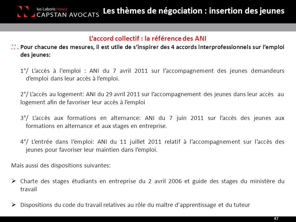 L'accord collectif : la référence des ANI Pour chacune des mesures, il est utile de s'inspirer des 4 accords interprofessionnels sur l'emploi des jeun