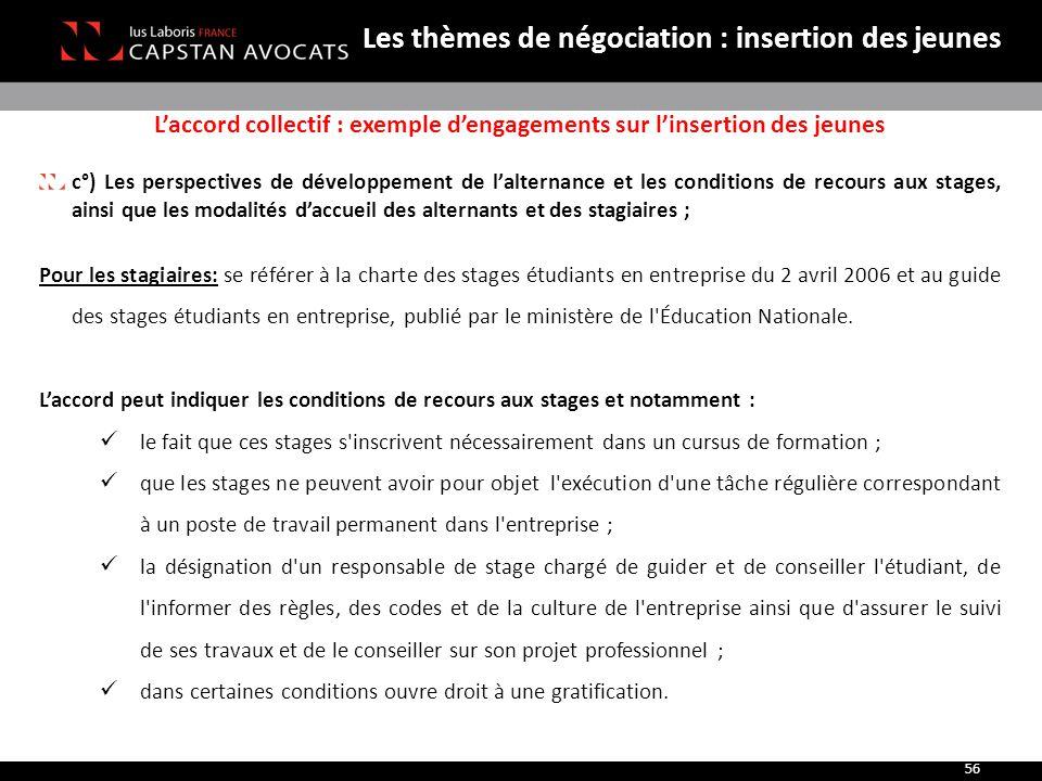 L'accord collectif : exemple d'engagements sur l'insertion des jeunes c°) Les perspectives de développement de l'alternance et les conditions de recou