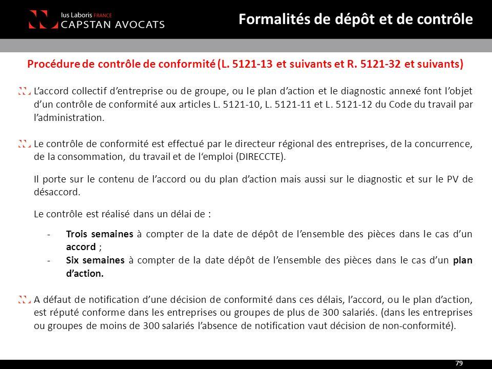 Procédure de contrôle de conformité (L. 5121-13 et suivants et R. 5121-32 et suivants) L'accord collectif d'entreprise ou de groupe, ou le plan d'acti