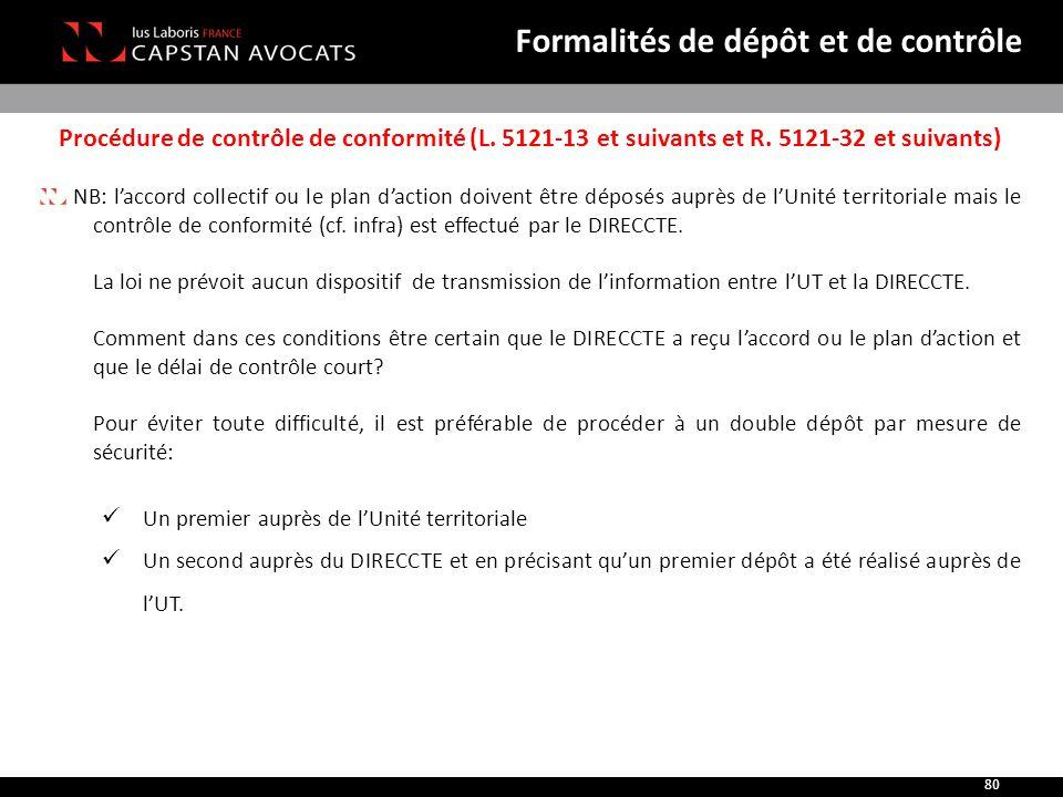 Procédure de contrôle de conformité (L. 5121-13 et suivants et R. 5121-32 et suivants) NB: l'accord collectif ou le plan d'action doivent être déposés