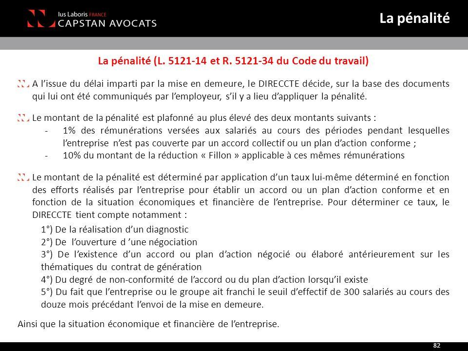 La pénalité (L. 5121-14 et R. 5121-34 du Code du travail) A l'issue du délai imparti par la mise en demeure, le DIRECCTE décide, sur la base des docum