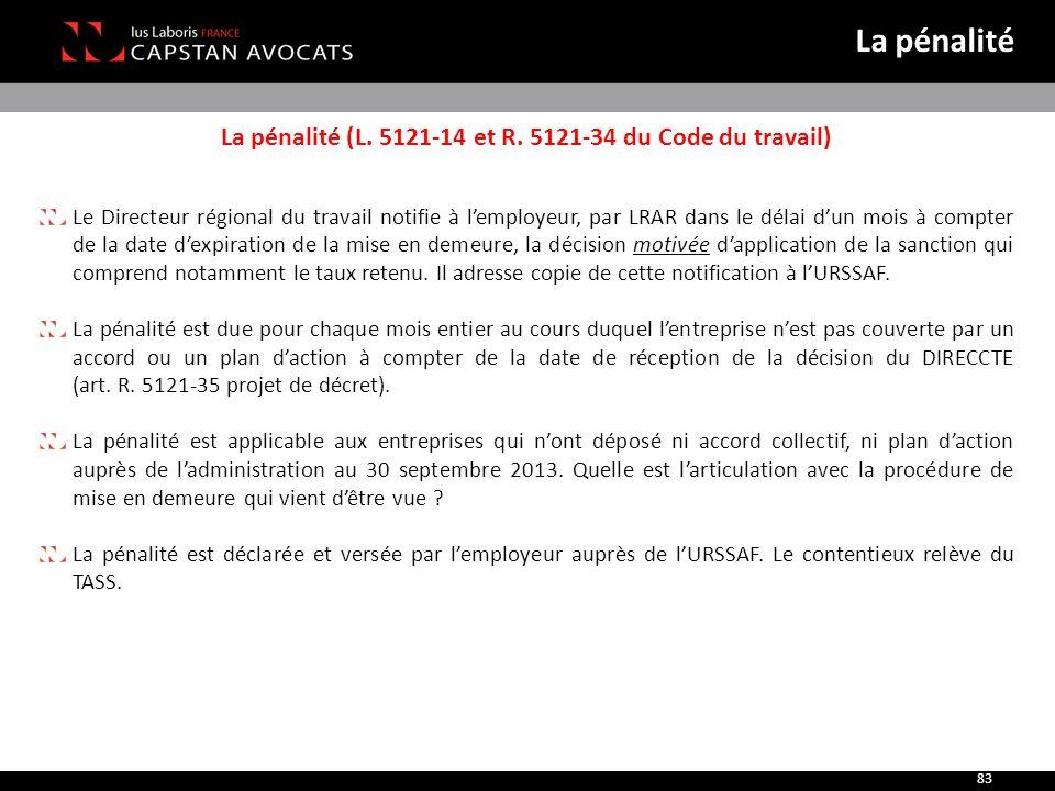 La pénalité (L. 5121-14 et R. 5121-34 du Code du travail) Le Directeur régional du travail notifie à l'employeur, par LRAR dans le délai d'un mois à c