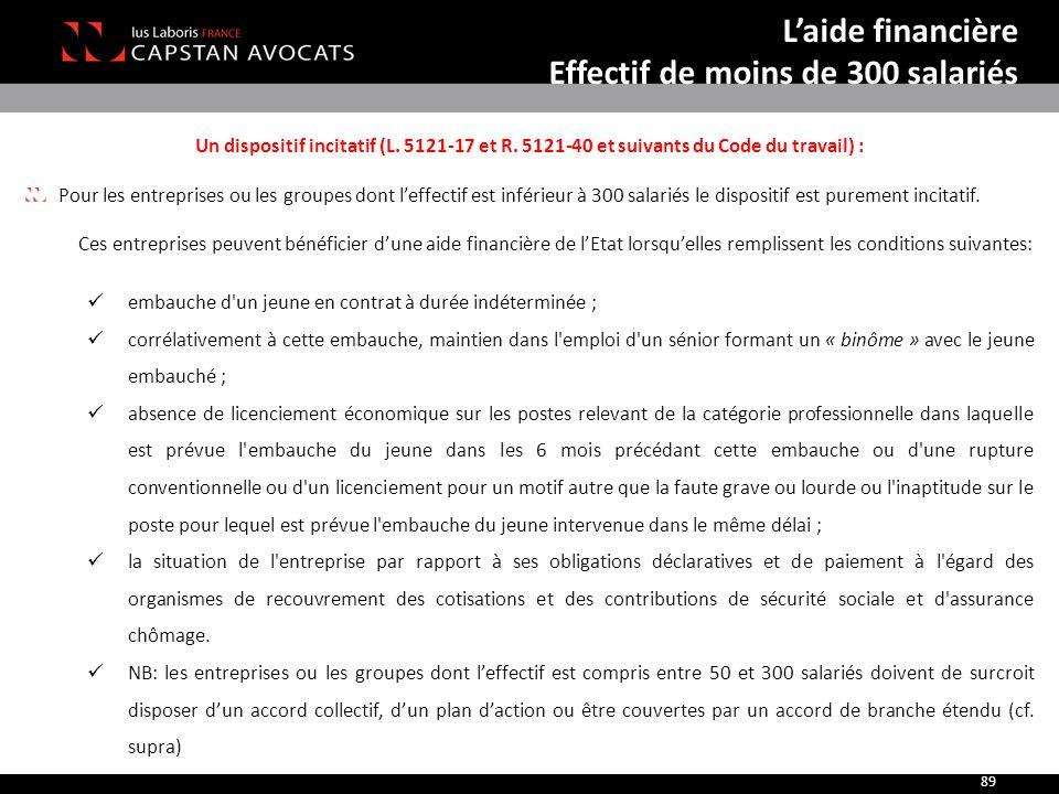 Un dispositif incitatif (L. 5121-17 et R. 5121-40 et suivants du Code du travail) : Pour les entreprises ou les groupes dont l'effectif est inférieur