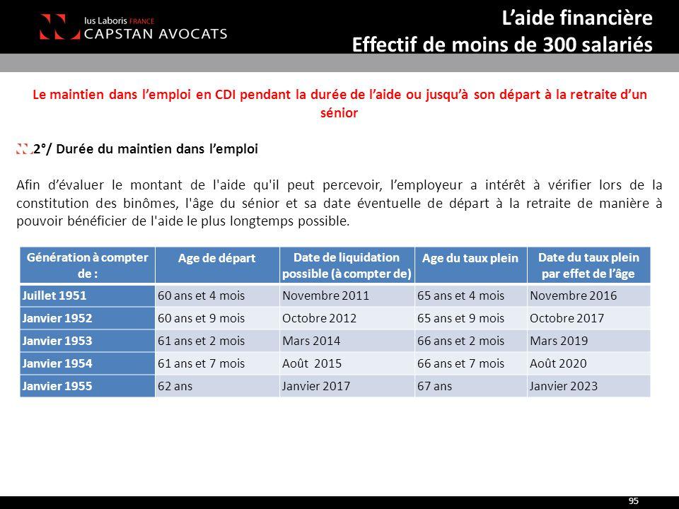 Le maintien dans l'emploi en CDI pendant la durée de l'aide ou jusqu'à son départ à la retraite d'un sénior 2°/ Durée du maintien dans l'emploi Afin d