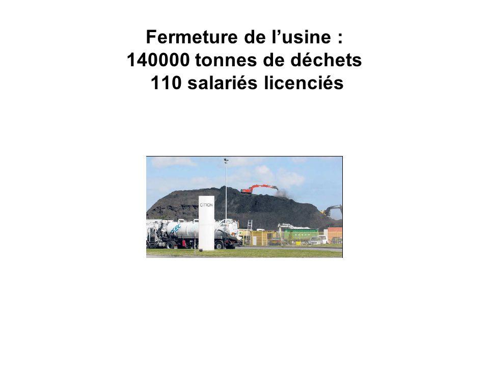 Fermeture de l'usine : 140000 tonnes de déchets 110 salariés licenciés