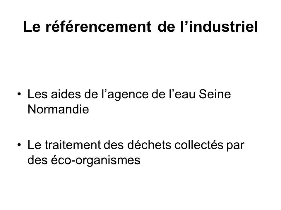 Le référencement de l'industriel Les aides de l'agence de l'eau Seine Normandie Le traitement des déchets collectés par des éco-organismes