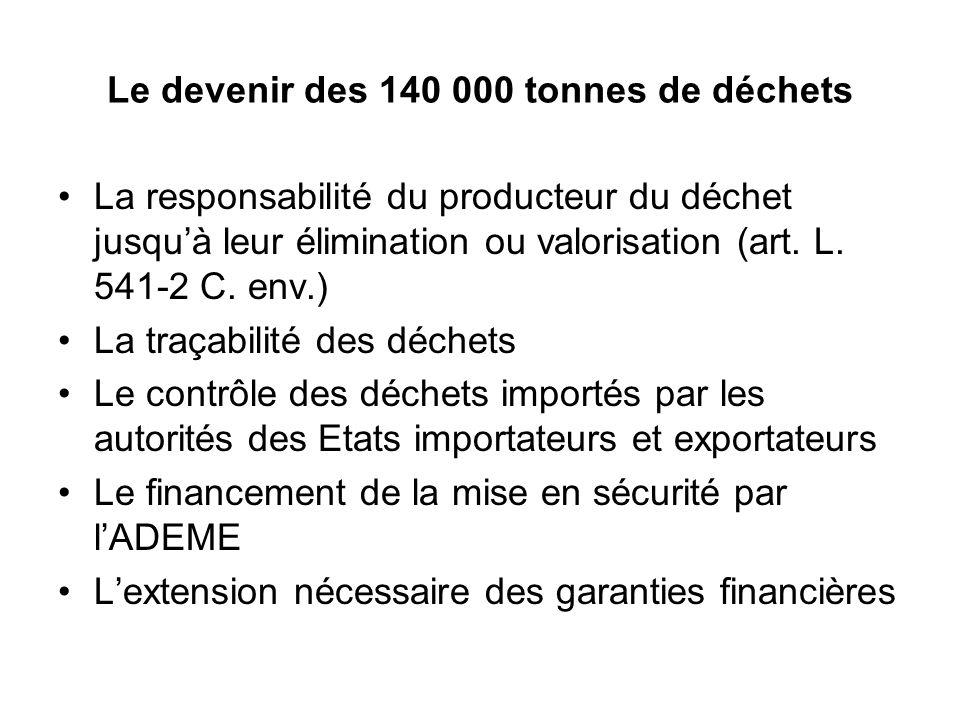 Le devenir des 140 000 tonnes de déchets La responsabilité du producteur du déchet jusqu'à leur élimination ou valorisation (art.