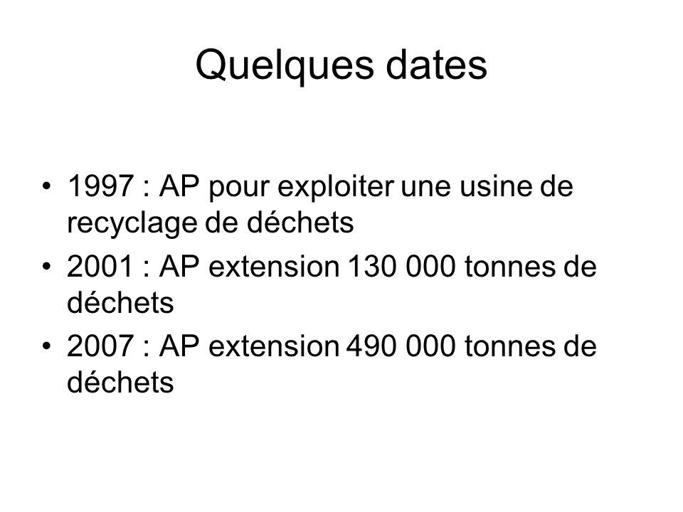 Quelques dates 1997 : AP pour exploiter une usine de recyclage de déchets 2001 : AP extension 130 000 tonnes de déchets 2007 : AP extension 490 000 tonnes de déchets