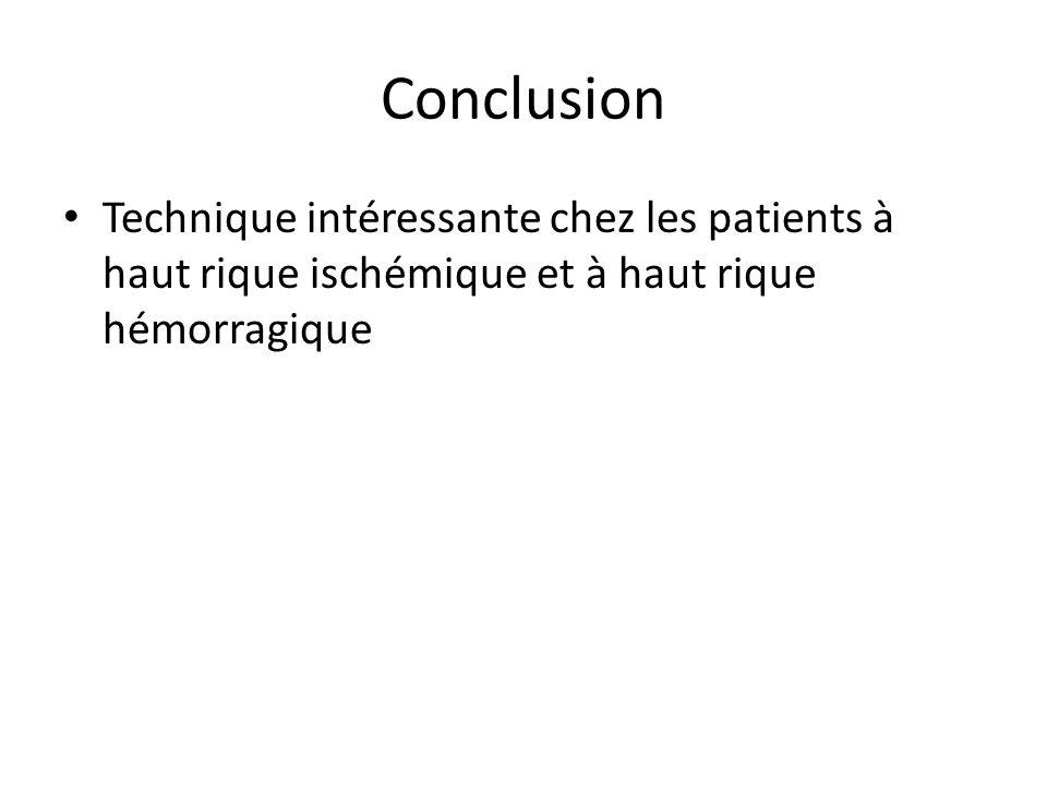 Conclusion Technique intéressante chez les patients à haut rique ischémique et à haut rique hémorragique