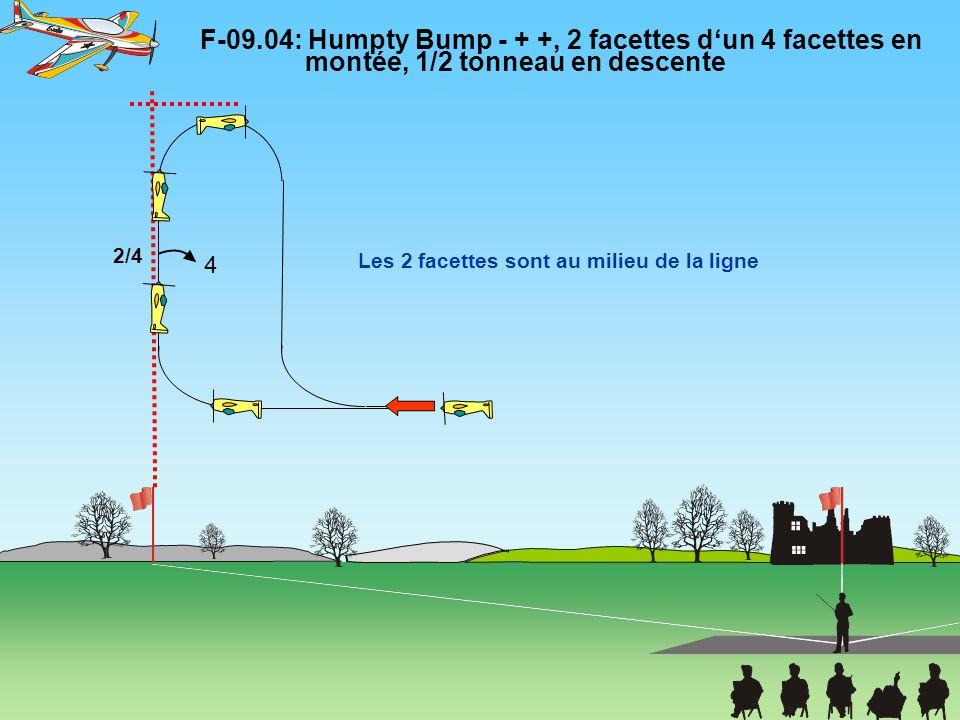 F-09.04: Humpty Bump - + +, 2 facettes d'un 4 facettes en montée, 1/2 tonneau en descente Le1/2 tonneau est au milieu de la ligne Tous les rayons sont égaux