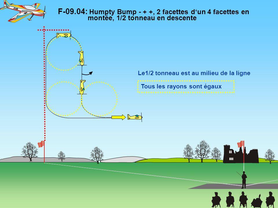 F-09.14: Demi boucle, deux tonneaux intégrés en sens opposés, sortie dos Le changement de sens des tonneaux est immédiat.