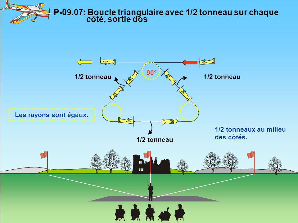 P-09.07: Boucle triangulaire avec 1/2 tonneau sur chaque côté, sortie dos 90° Les rayons sont égaux. 1/2 tonneaux au milieu des côtés. 1/2 tonneau
