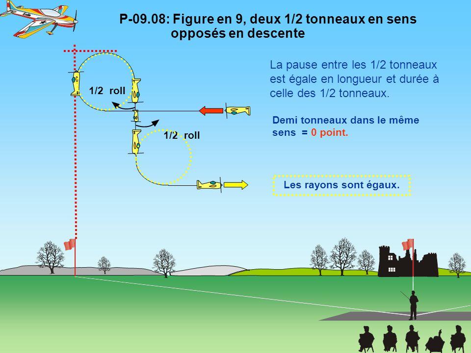 P-09.08: Figure en 9, deux 1/2 tonneaux en sens opposés en descente 1/2 roll Les rayons sont égaux. Demi tonneaux dans le même sens = 0 point. La paus