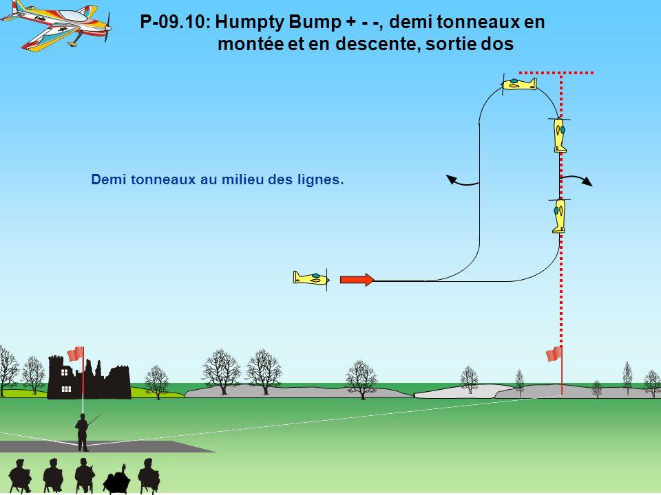 P-09.10: Humpty Bump + - -, demi tonneaux en montée et en descente, sortie dos Demi tonneaux au milieu des lignes.