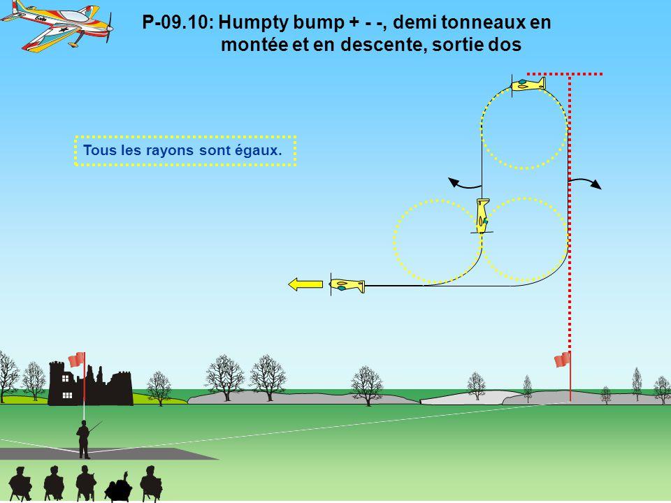 P-09.10: Humpty bump + - -, demi tonneaux en montée et en descente, sortie dos Tous les rayons sont égaux.
