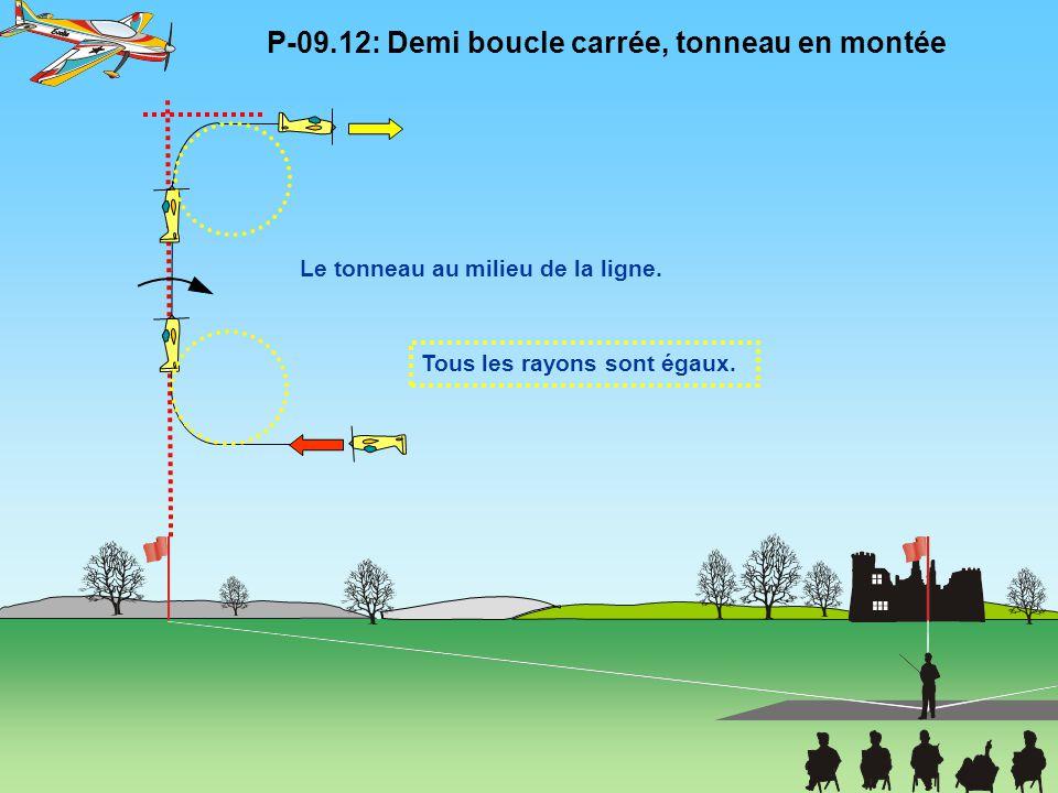 Tous les rayons sont égaux. P-09.12: Demi boucle carrée, tonneau en montée Le tonneau au milieu de la ligne.