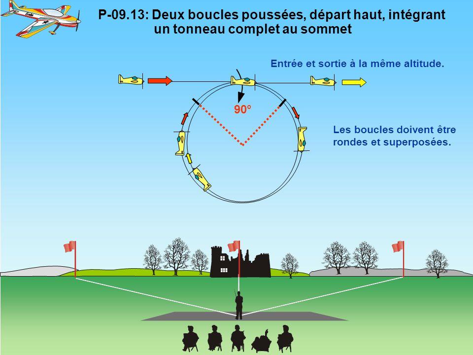 P-09.13: Deux boucles poussées, départ haut, intégrant un tonneau complet au sommet Les boucles doivent être rondes et superposées. Entrée et sortie à