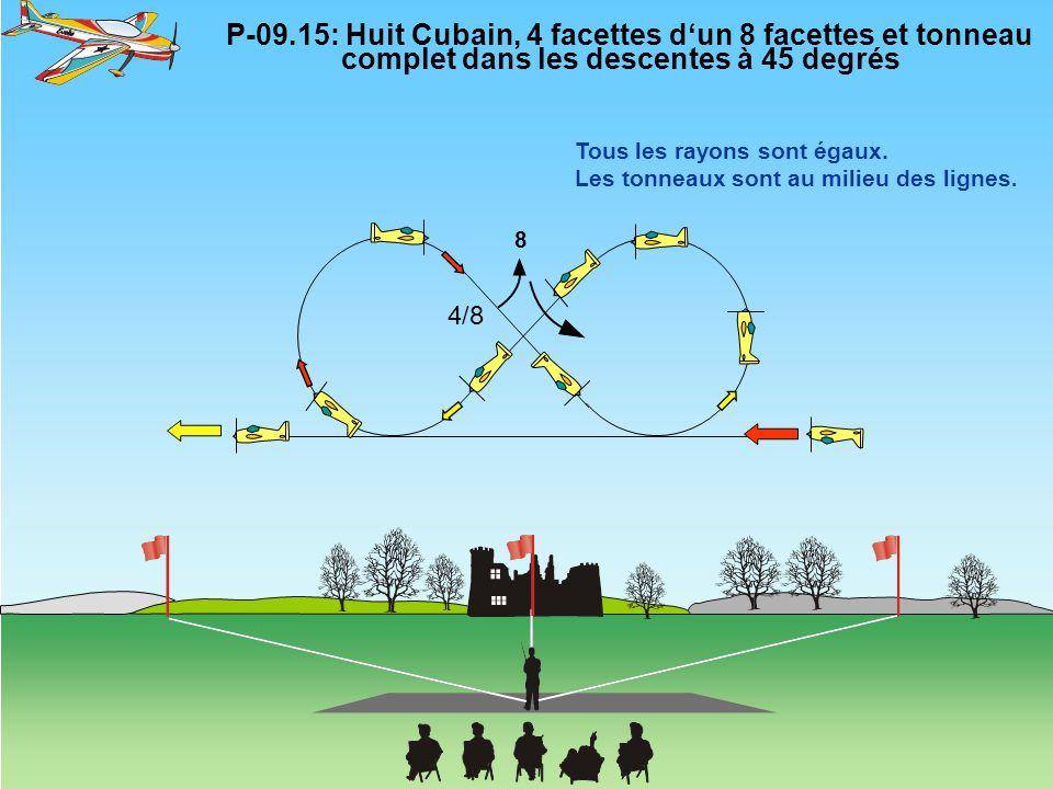 8 P-09.15: Huit Cubain, 4 facettes d'un 8 facettes et tonneau complet dans les descentes à 45 degrés Tous les rayons sont égaux. Les tonneaux sont au