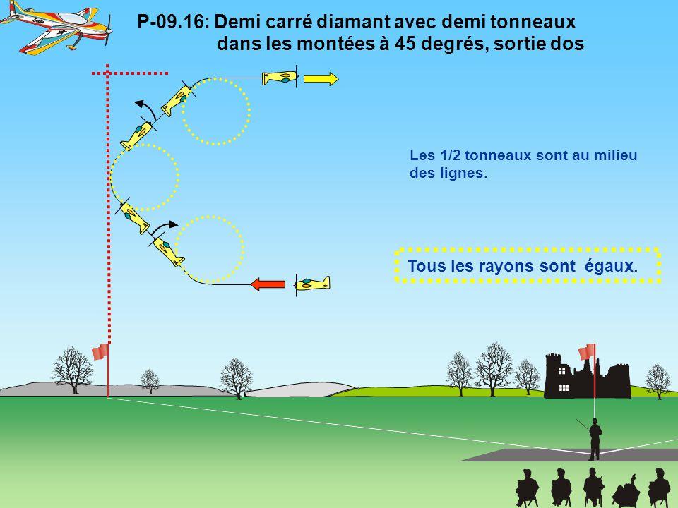 Tous les rayons sont égaux. P-09.16: Demi carré diamant avec demi tonneaux dans les montées à 45 degrés, sortie dos Les 1/2 tonneaux sont au milieu de