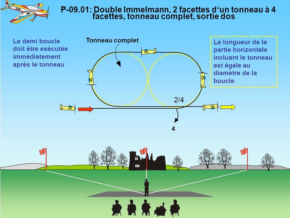 P-09.01: Double Immelmann, 2 facettes d'un tonneau à 4 facettes, tonneau complet, sortie dos 4 Tonneau complet La longueur de la partie horizontale in