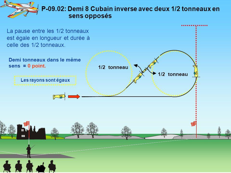 P-09.02: Demi 8 Cubain inverse avec deux 1/2 tonneaux en sens opposés Les rayons sont égaux 1/2 tonneau Demi tonneaux dans le même sens = 0 point. La