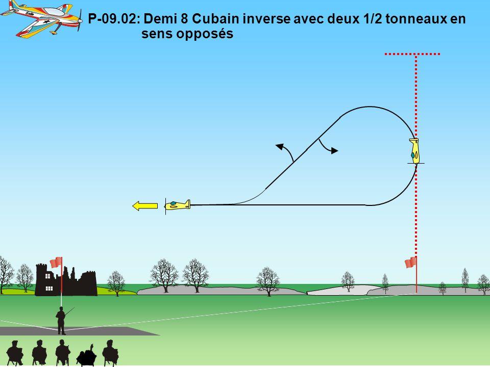 P-09.03: Trois tonneaux horizontaux en sens opposés Le changement de sens des tonneaux doit être immédiat.
