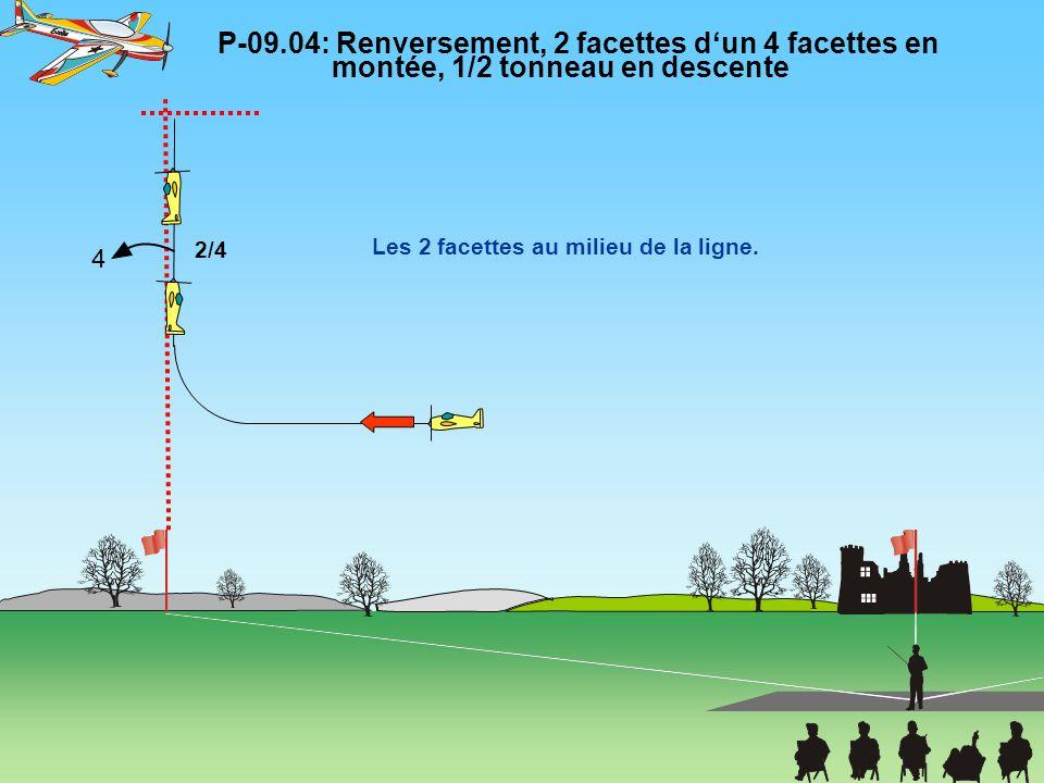 P-09.04: Renversement, 2 facettes d'un 4 facettes en montée, 1/2 tonneau en descente Les 2 facettes au milieu de la ligne. 2/4 4