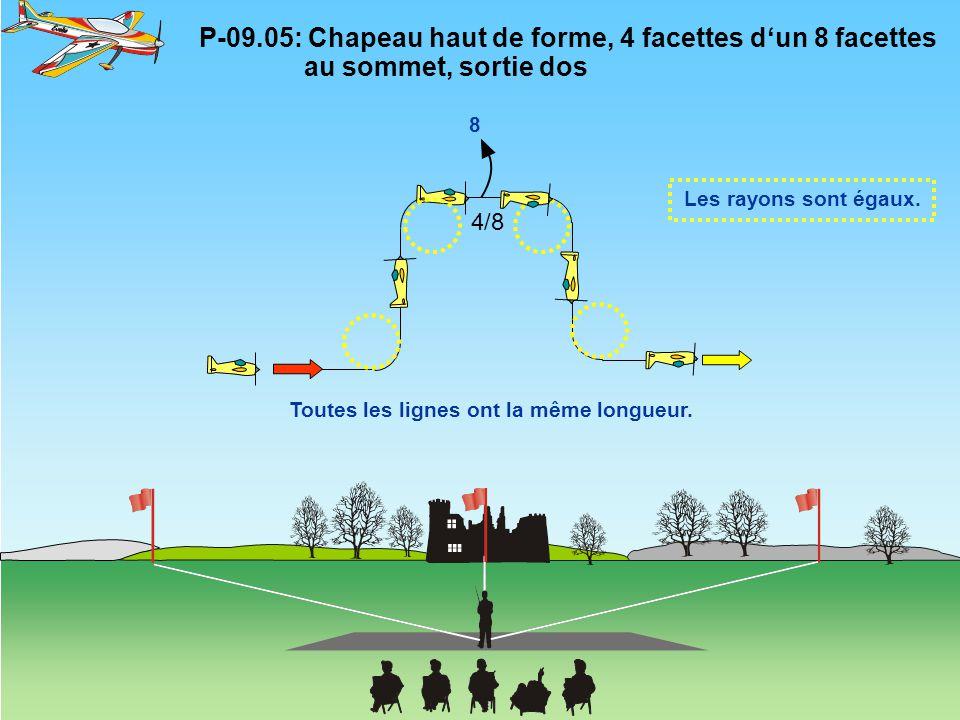 P-09.05: Chapeau haut de forme, 4 facettes d'un 8 facettes au sommet, sortie dos Les rayons sont égaux. 8 Toutes les lignes ont la même longueur. 4/8