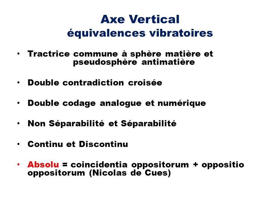 Axe Vertical équivalences vibratoires Tractrice commune à sphère matière et pseudosphère antimatière Double contradiction croisée Double codage analog