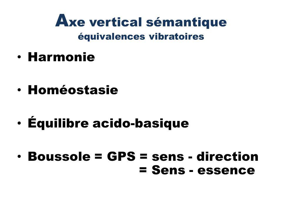 A xe vertical sémantique équivalences vibratoires Harmonie Homéostasie Équilibre acido-basique Boussole = GPS = sens - direction = Sens - essence