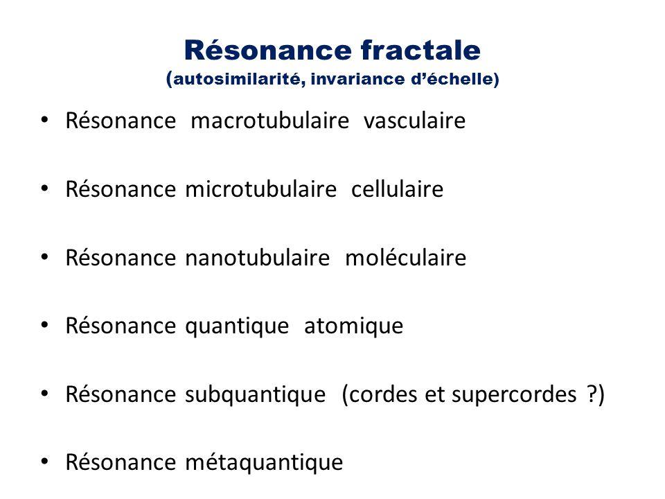 Résonance fractale ( autosimilarité, invariance d'échelle) Résonance macrotubulaire vasculaire Résonance microtubulaire cellulaire Résonance nanotubul