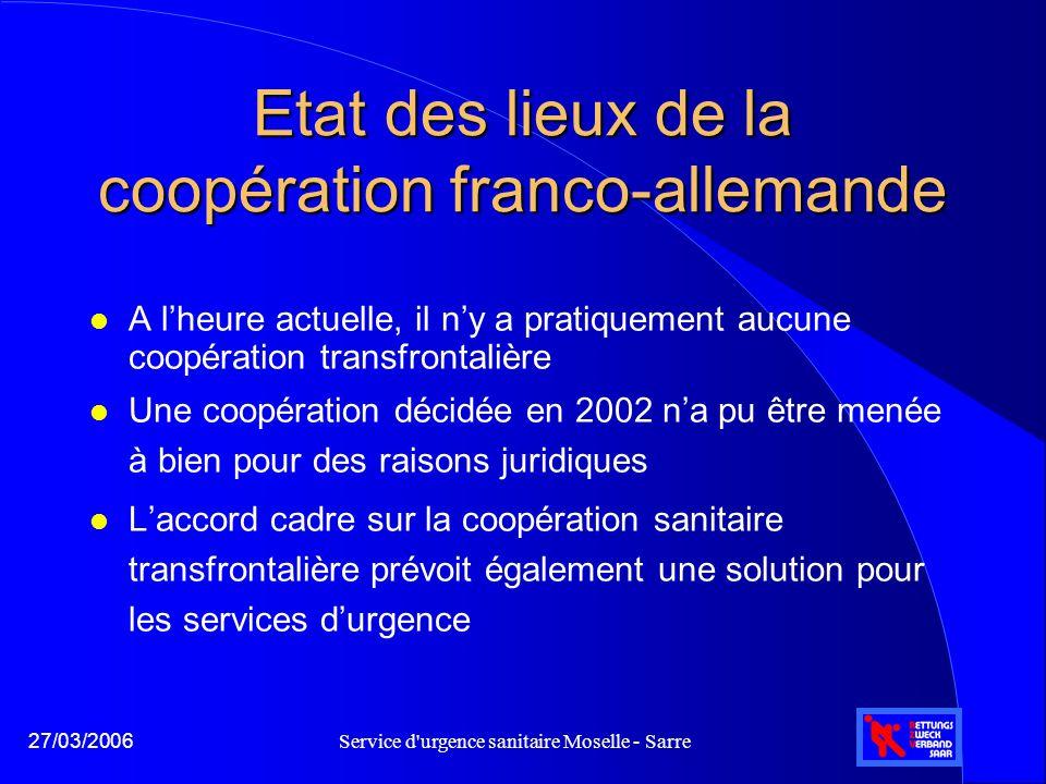 Service d'urgence sanitaire Moselle - Sarre27/03/2006 Etat des lieux de la coopération franco-allemande l A l'heure actuelle, il n'y a pratiquement au