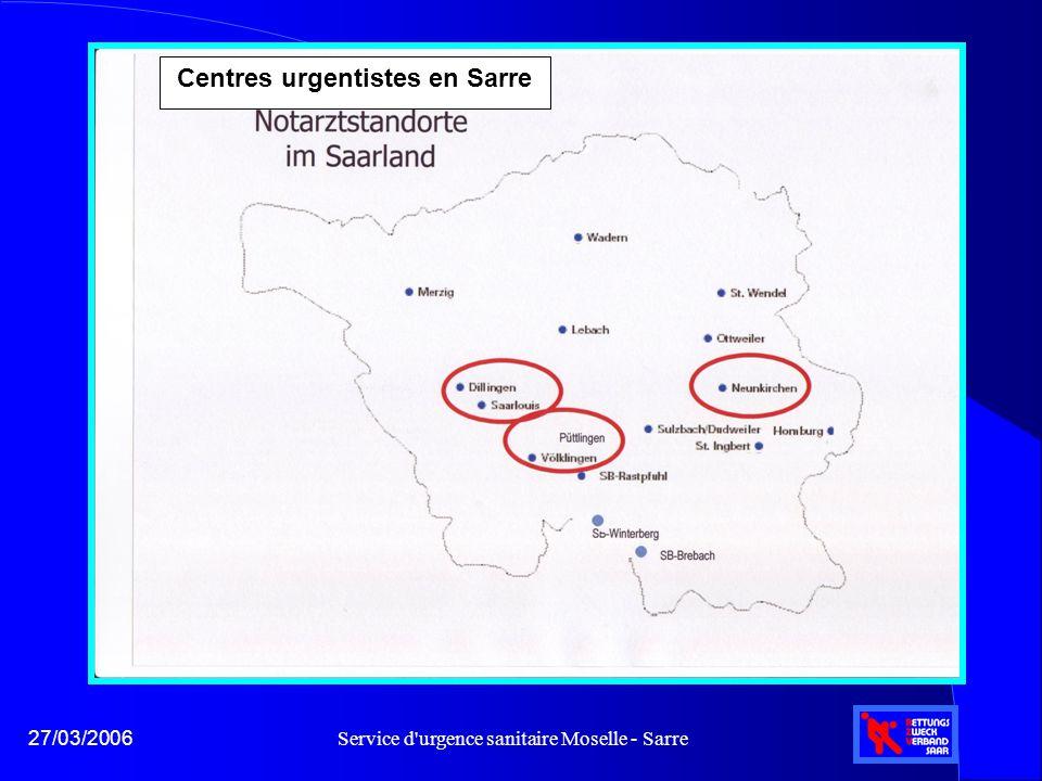 Service d'urgence sanitaire Moselle - Sarre27/03/2006 Centres urgentistes en Sarre
