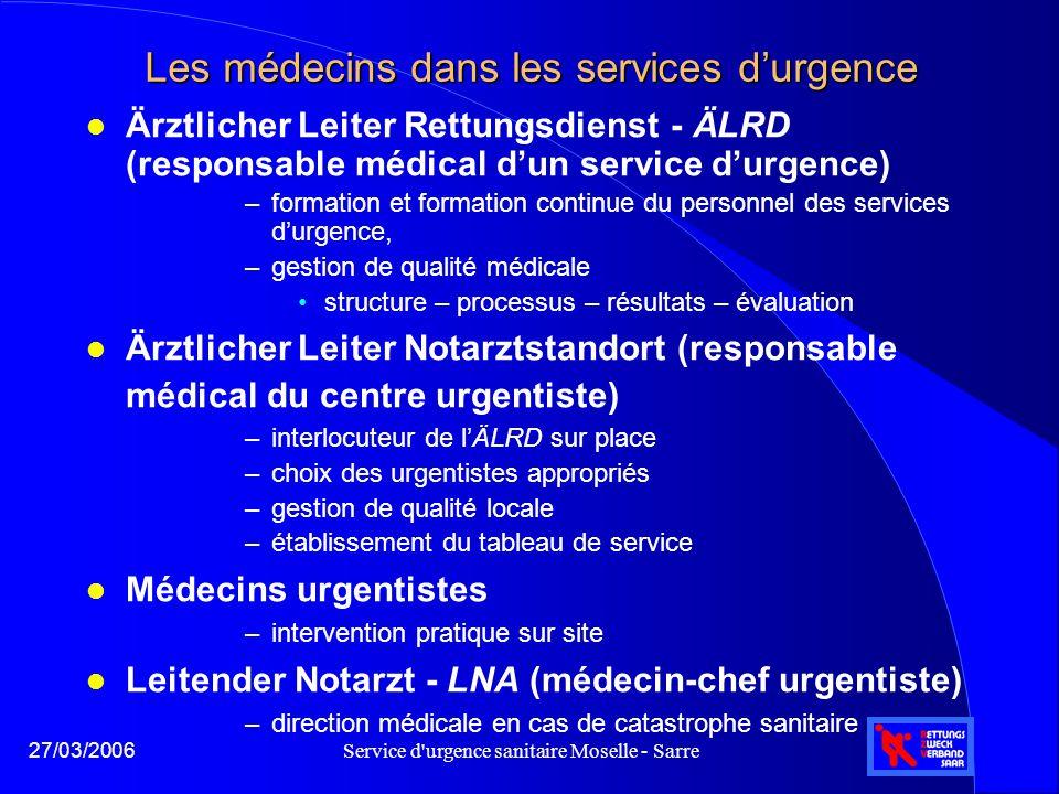 Service d'urgence sanitaire Moselle - Sarre27/03/2006 Les médecins dans les services d'urgence l Ärztlicher Leiter Rettungsdienst - ÄLRD (responsable