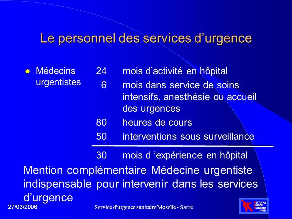 Service d'urgence sanitaire Moselle - Sarre27/03/2006 Le personnel des services d'urgence l Médecins urgentistes 24 mois d'activité en hôpital 6 mois